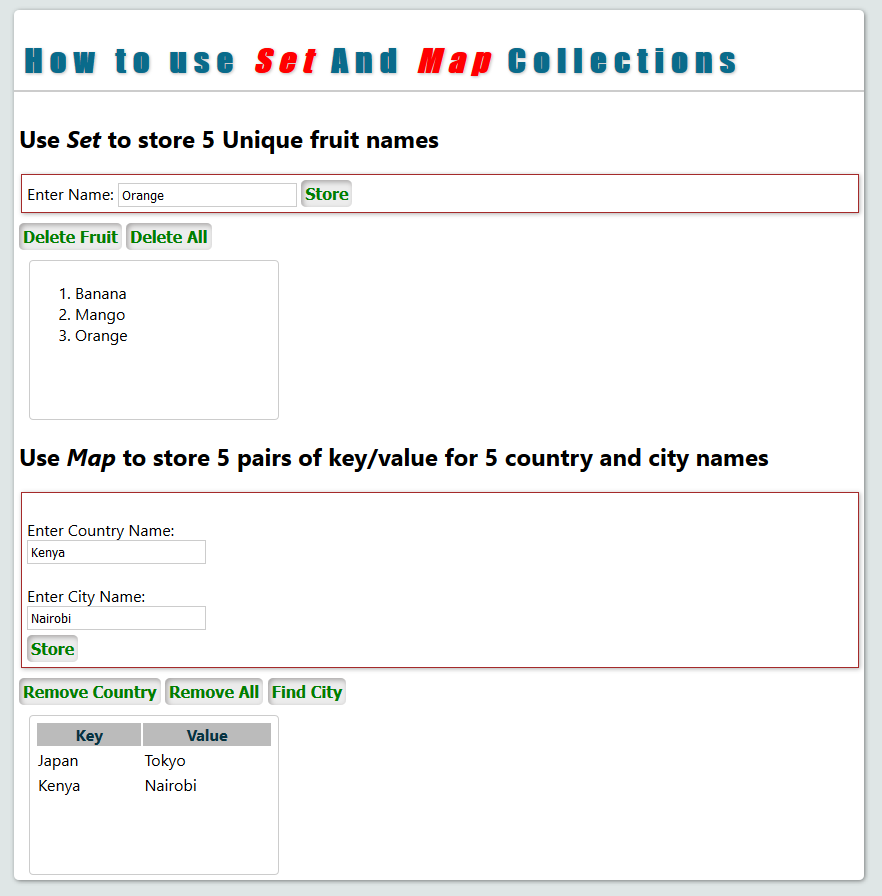 Javascript set and map collections