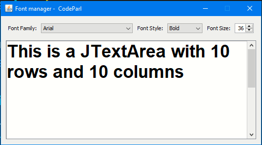 Jswing font manager