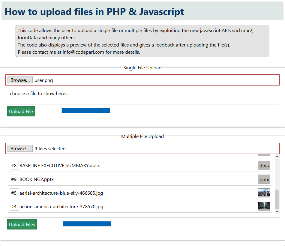 Upload multiple files in php and javascript part 2